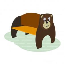 Скамья детская ROMANA с рисунком «Медведь»