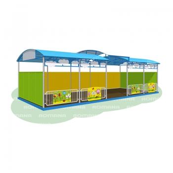 Веранда «Полянка» 10 метров (бетонируемая, с полом, ступенчатая крыша)