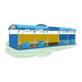 Детская веранда «Космос» 10 метров (бетонируемая, с полом, ступенчатая крыша)