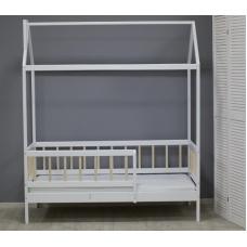 Кровать «Скандинавия» цвет белый с натуральными ламелями
