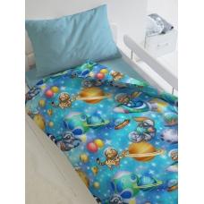 Комплект постельного белья 1,5сп бязь Непоседа Астронавты