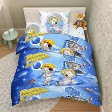 Комплект постельного белья 1,5сп бязь Белка и Стрелка в космосе